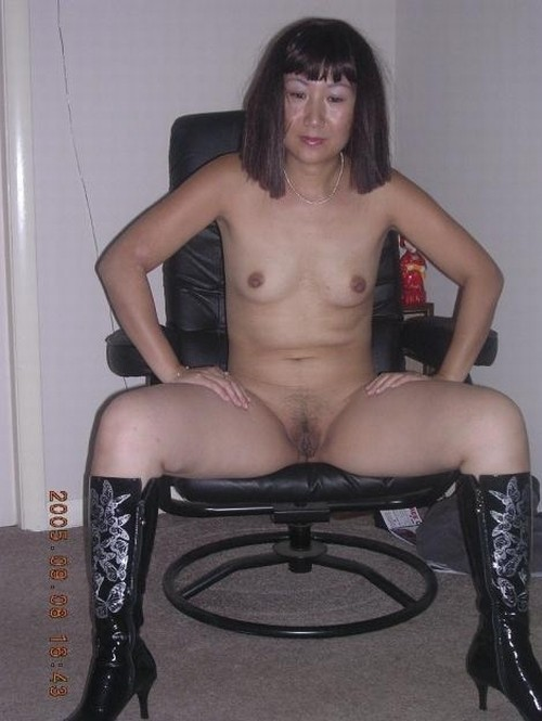 Amateur old Asian granny nude showing pussy