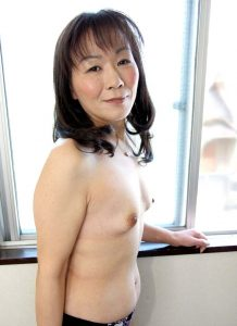 Mature amateur Japanese Asian granny with tiny tits looks great