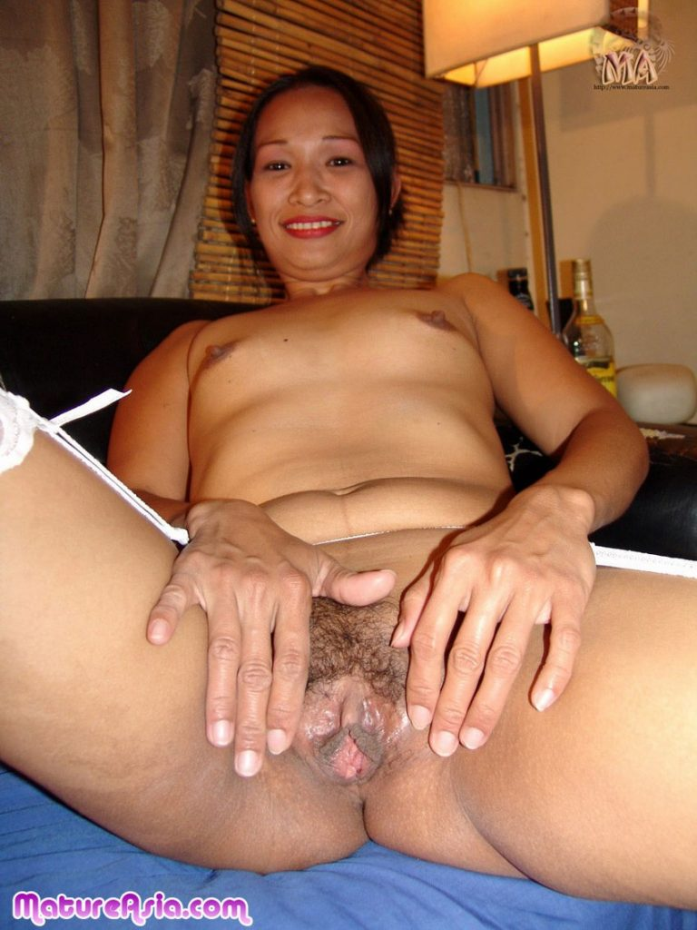 Cute Asian Grandma spreading her still wet tight pussy to show us