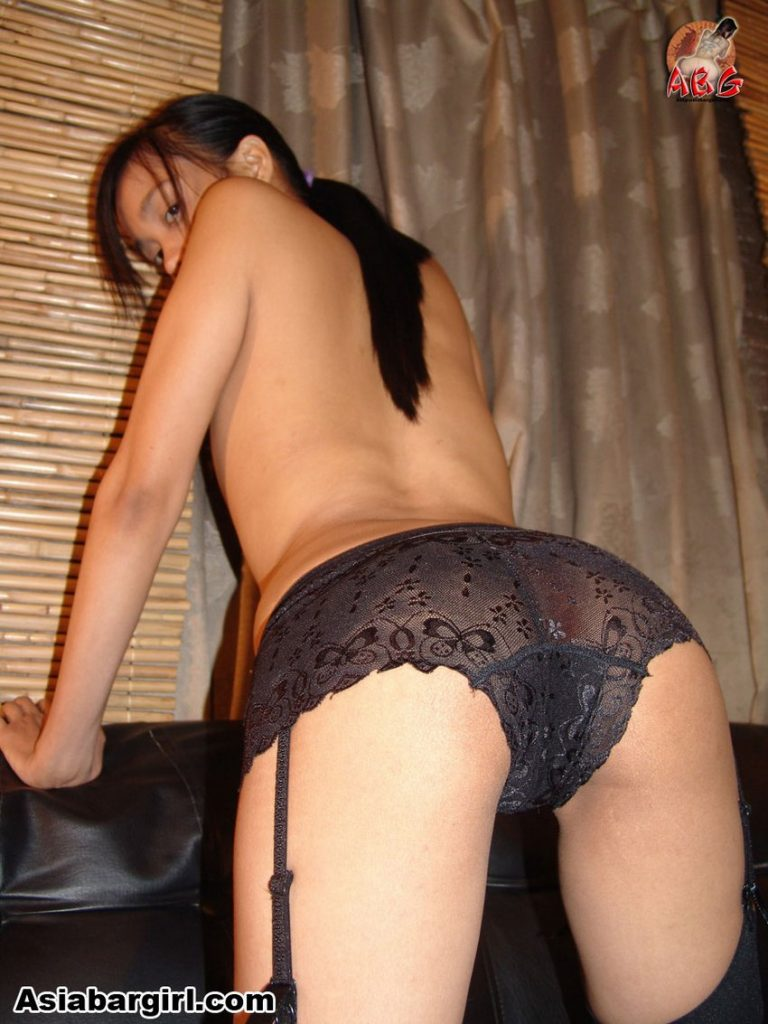 Sarra a petite Asian LBFM bent over with her ass in black panties