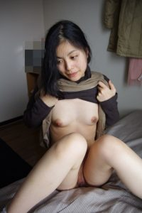 cute amateur Asian wife lifting her shirt to show petite tiny tits