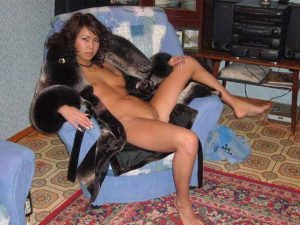 Sexy Asian wife in a fur with bald pussy she seems pretty high maintance