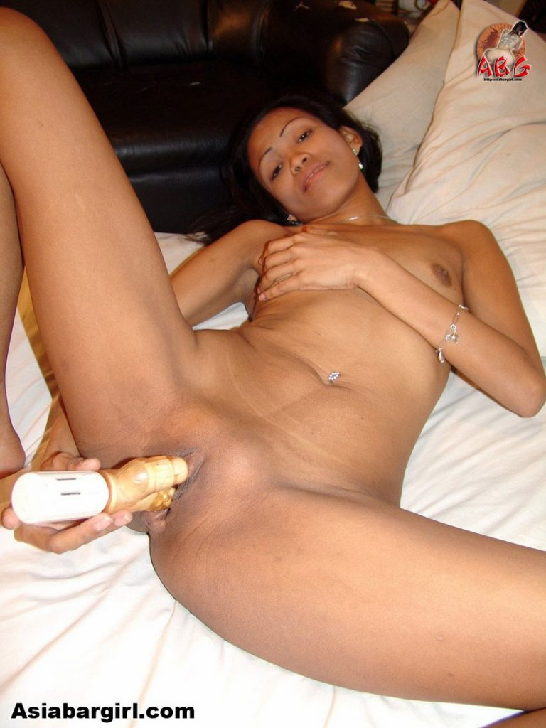 Skinny Asian hooker Jenny using a dildo on her tight LBFM pussy and grabbing her tiny tits