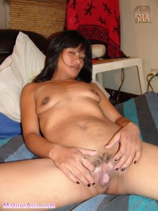 Filipino Asian Milf Alex spreading her pussy lips to show tiny pussy