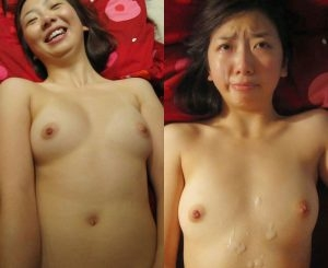 asian wife covered cum before after