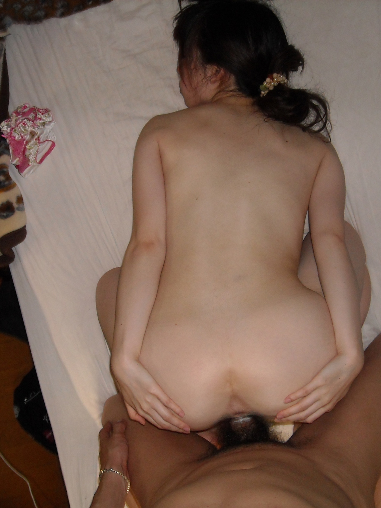 view from above of asian wife
